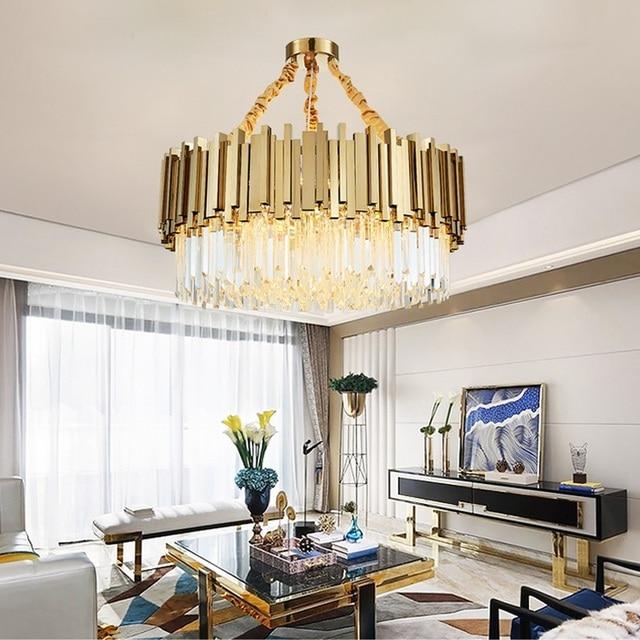 Moderno Lampadario di Cristallo per Soggiorno Sala da Pranzo Oro Lampadario di Cristallo Ha Condotto Le Luci di Illuminazione a Led Lampadario di Lusso
