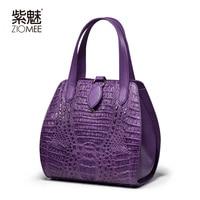 ZIOMEE Ladies Luxury Handmade Crocodile Genuine Leather Tote Bag Women Fashion Customized Purple Alligator Shell Party