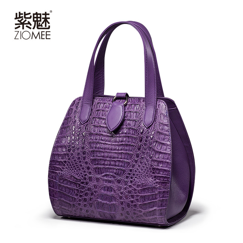 Aliexpress Ziomee Las Luxury Handmade Crocodile Genuine Leather Tote Bag Women Fashion Customized Purple Alligator Shell Party Handbag From
