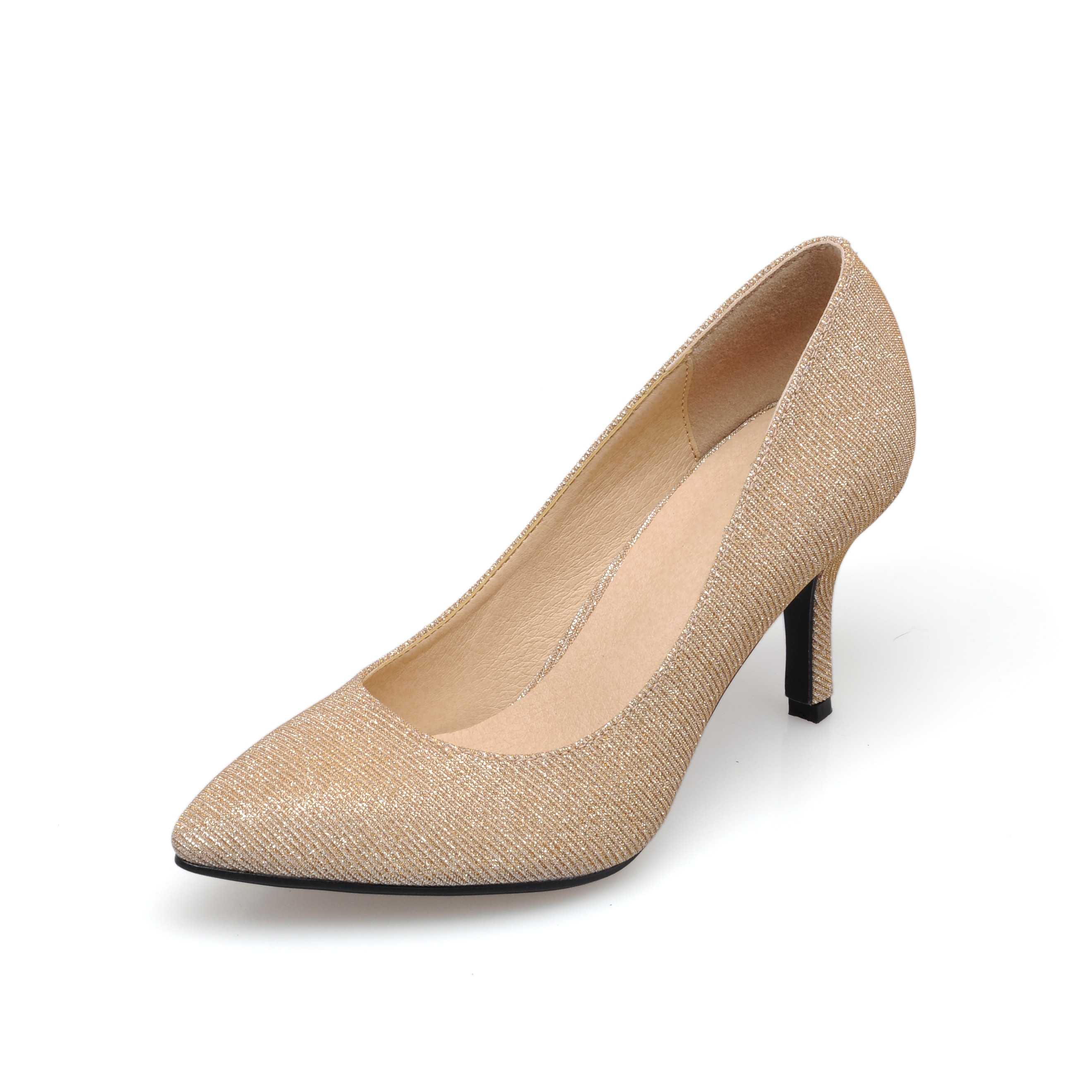 Plus Size 2017 New Spring Classic Women Pumps Fashion High Heel Gold Office Wedding Casual Pointed Toe Shoes Woman SMYBK-067 new hot spring summer high quality fashion trend simple classic solid pleated flats casual pointed toe women office boat shoes