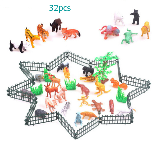 Small Plastic Animals Simulation Zoo 32pcs/set Containing Solid various kinds Fence Animales Toys For Kid Children