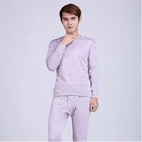 Plus Size L XXXL Hot Sale Mens Silk Thermal Underwear Set Round Neck Cotton Thick Warm