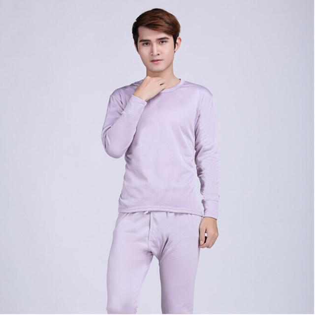 Más el tamaño L-XXXL Mens calientes de la venta de seda conjunto de ropa interior térmica cuello redondo algodón grueso abrigo de invierno ropa para hombres traje Long Johns