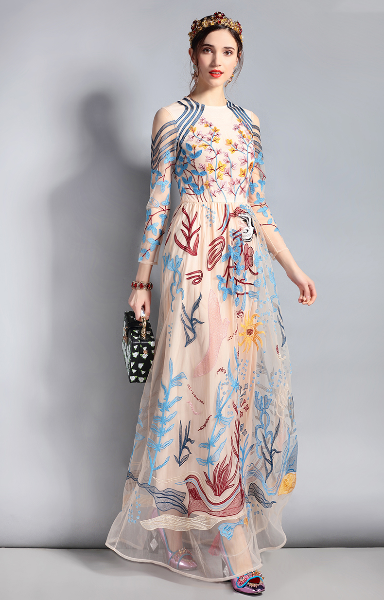 fce6ecef062 2019 LD LINDA DELLA Designer Maxi Dress Women S Long Sleeve Lace ...