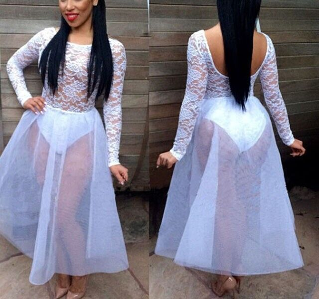 Us 18 29 2015 New Summer Dress Black Long Sleeve Mesh Party Dresses White Perspective Lace Dress White Party Outfits For Women Vestidos في 2015