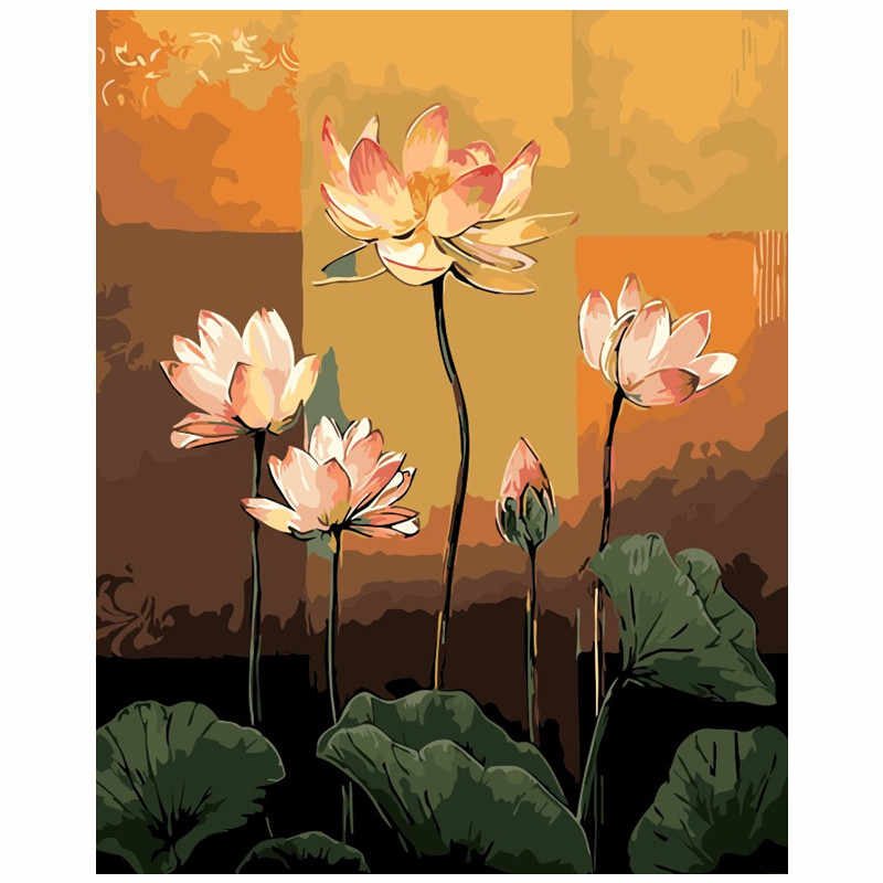 Pink Lotus flowers painting drawing by number pictures paints Painting By Numbers kits Wall Art Acrylic Picture Gift room decor