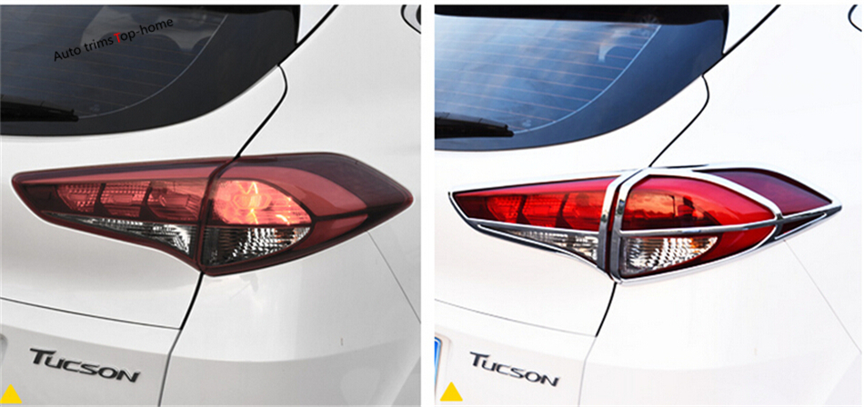 Yimaautotrims Chrome Arrière Lampe Lumières Cadre Garniture 4 pièce/ensemble Extérieur Pour Hyundai Tucson 2016 2017 2018 ABS
