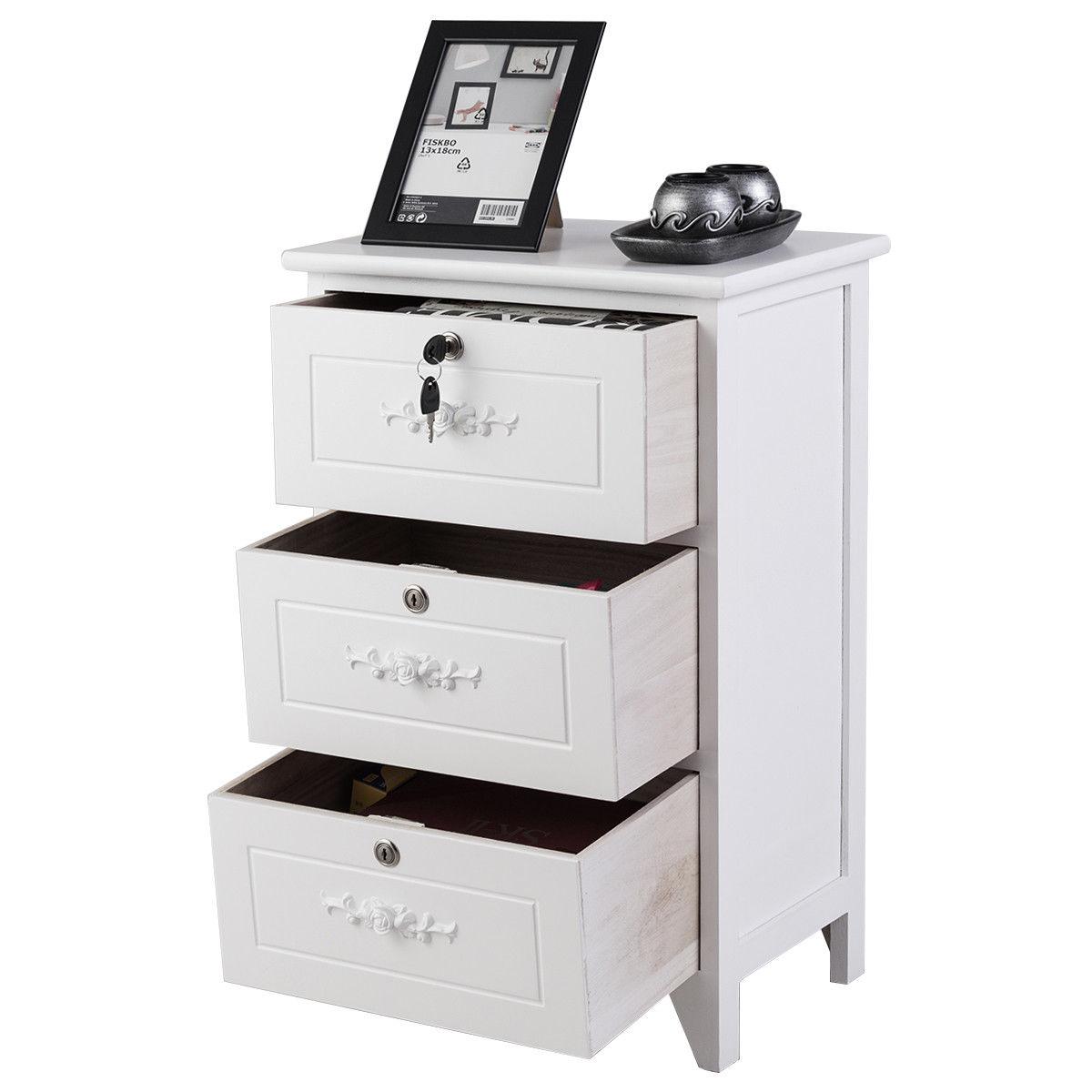 Wood Nightstand Bedroom Table Three Drawer Storage Organizer Bedside Tables Bedroom Furniture