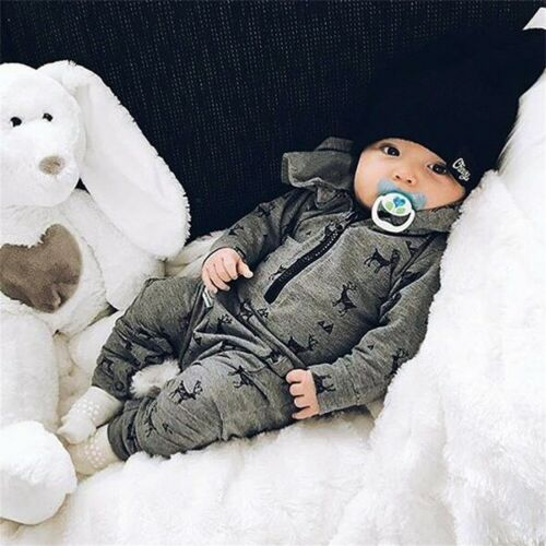 Kids Infant Baby Boys Hooded Romper Jumpsuit Bodysuit Clothes Outfits One-Piece