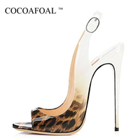 COCOAFOAL Women Leopard Print Sandals Plus Size 33 43 Pink High Heels Sandals Sexy Patent Leather Summer Patent Leather Pumps