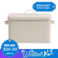 8L Large Storage Box With Handle Metal Food Bread Container Retro Cream Closet Toy Multipurpose Storage Bin With Lid