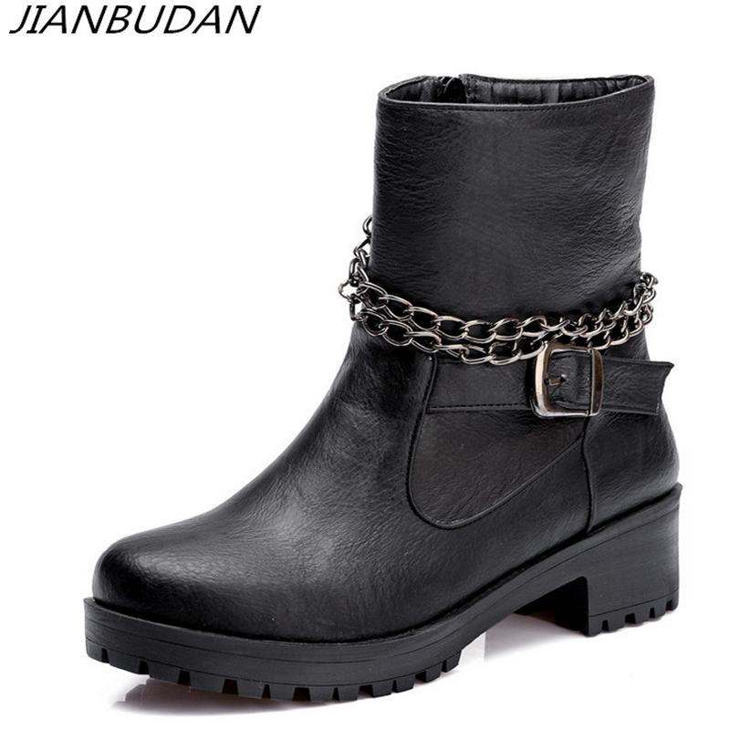 JIANBUDAN combat boots for women 2018 Non-slip casual womens fall Martin boots Pu material ankle boots for women winter 34-43 ...