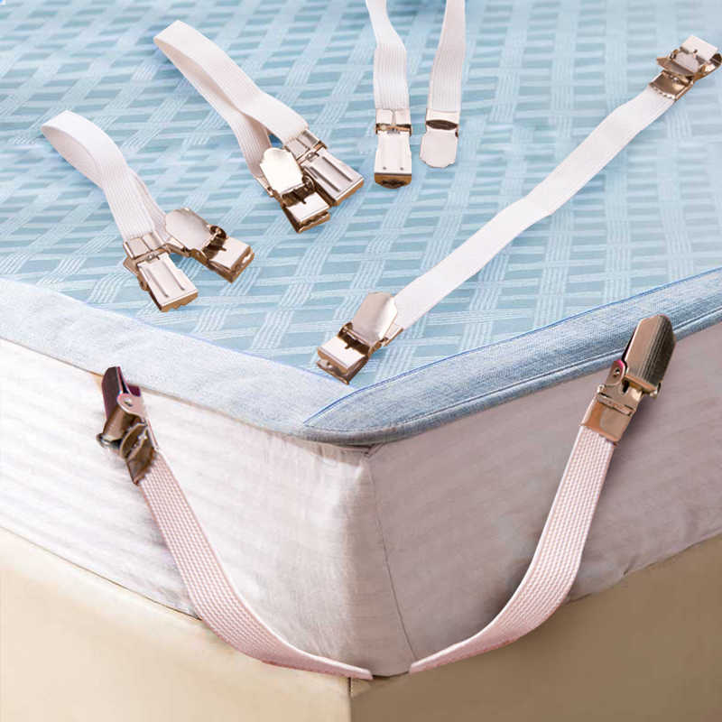 4PCS Bed Sheet Mattress Blankets Stainless  Steel Elastic Holder Bed Fastener Gripper Clip Tools Home Decoration ev tekstili