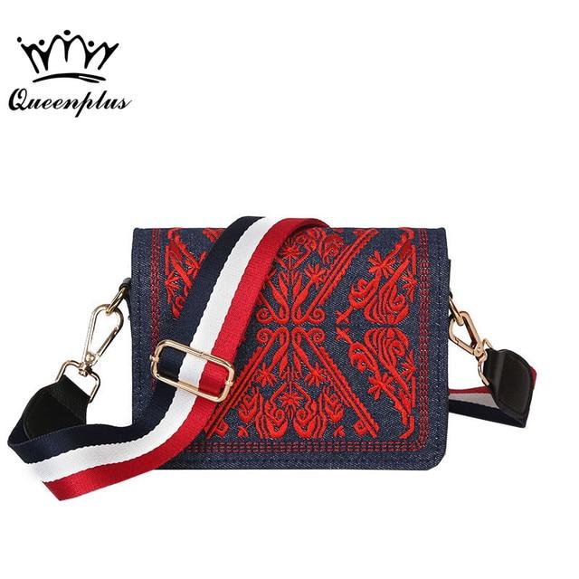2017 summer new embroidery bag retro pattern small square bag hit color denim women bag shoulder Messenger bag