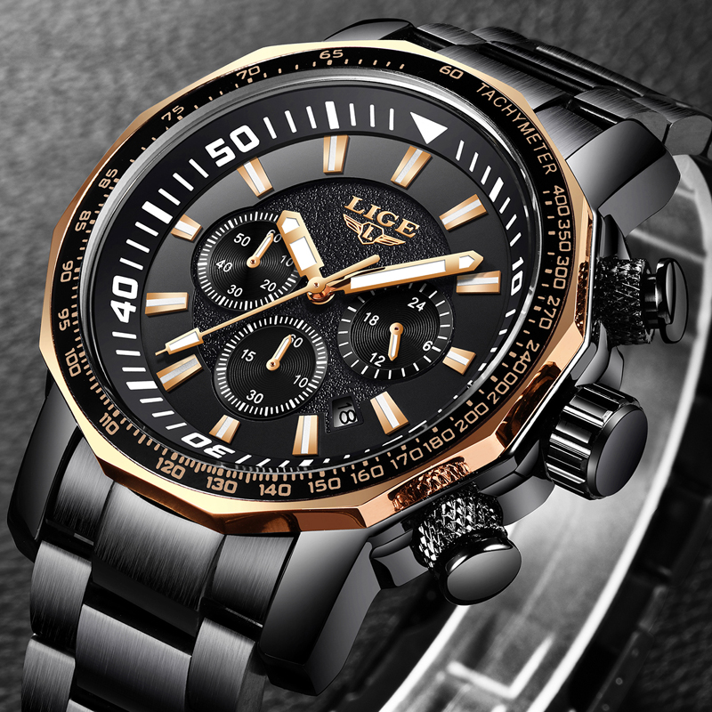2018 LIGE Men Watch Luxury Men's Big Dial Chronograph Men's Business Black Watch Men Waterproof Quartz Watches Relogio Masculino image