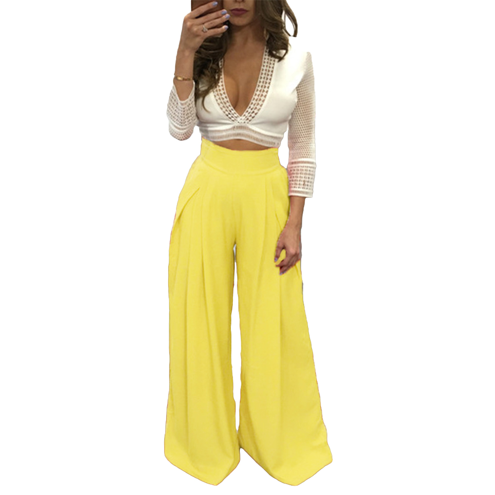 Image 3 - Women Harem Pants Solid Color High Waist Loose Wide Leg Pants Pockets Casual Palazzo Baggy Clubwear Trousers 2019 Pantalon Femme-in Pants & Capris from Women's Clothing