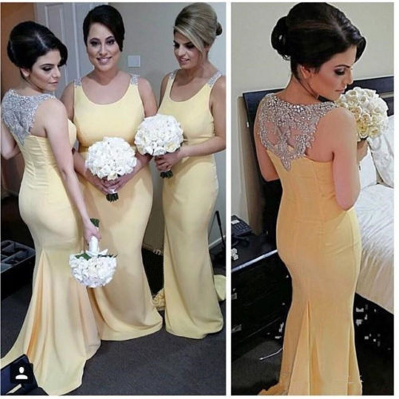 Hot Sale Yellow Satin Mermaid   Bridesmaid     Dresses   Long 2018 Scoop Appliques Beaded Crystal Zipper Back For Wedding Party Gowns