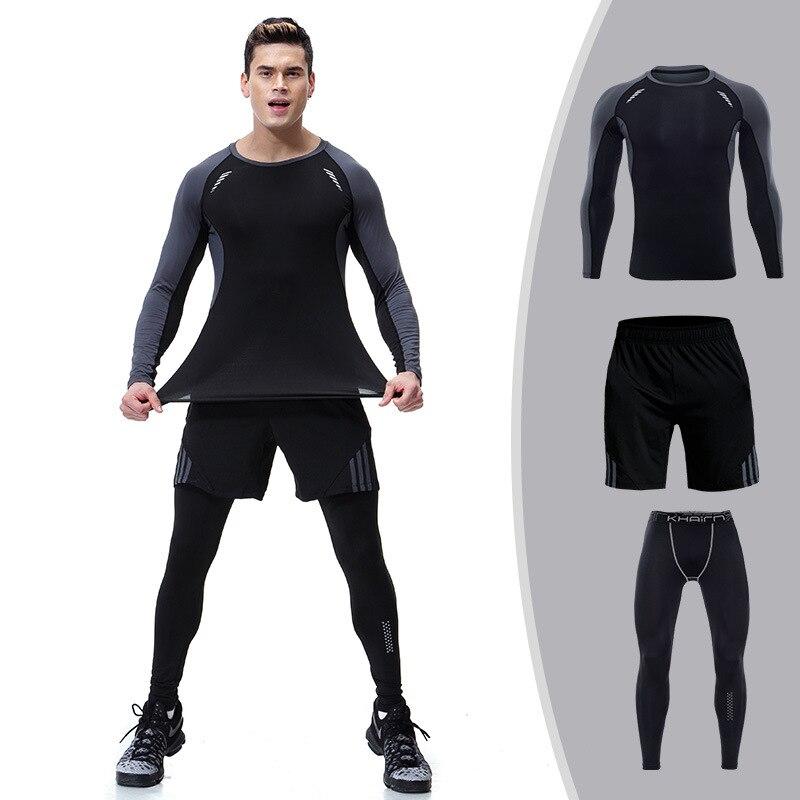 Hommes ensemble Compression chemise + pantalon peau serré manches longues Fitness Rashguard MMA vêtements survêtements 2019 décontracté 3 pièces hiver