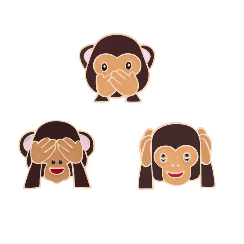 3 Pcs/Set Cartoon Brooches Cover Eye Mouth Monkey Enamel Pin Funny Kids Backpack Metal Badge Fashion Jackets Lapel Pins Jewelry