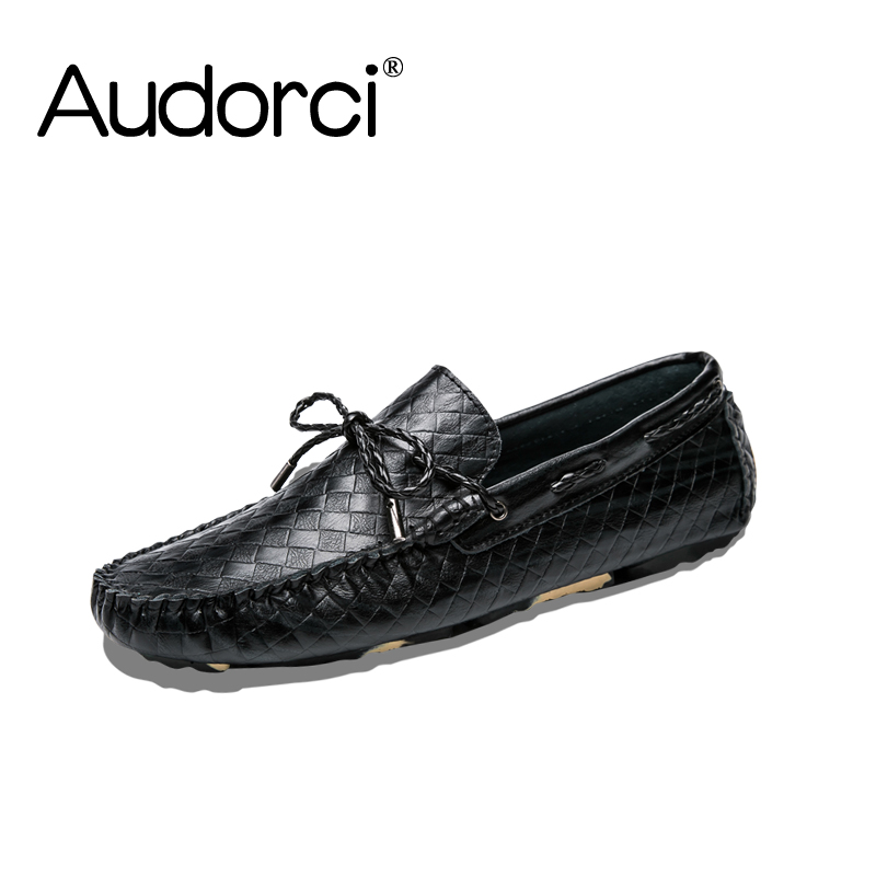 Audorci 2018 Spring Men's Genuine Leather Light Flats Shoes Man Casual Boat Peas Shoe Fashion Driving Loafers Shoes Size 38-44 brand fashion men shoes quality leather loafers eu size 38 44 soft rubber sole man casual driving shoes
