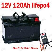GTK 12,8 V Lifepo4 12V 120AH литиевый аккумулятор BMS 4S для инверторных лодок, UPS для дома на колесах, хранение солнечной энергии+ 10А зарядное устройство