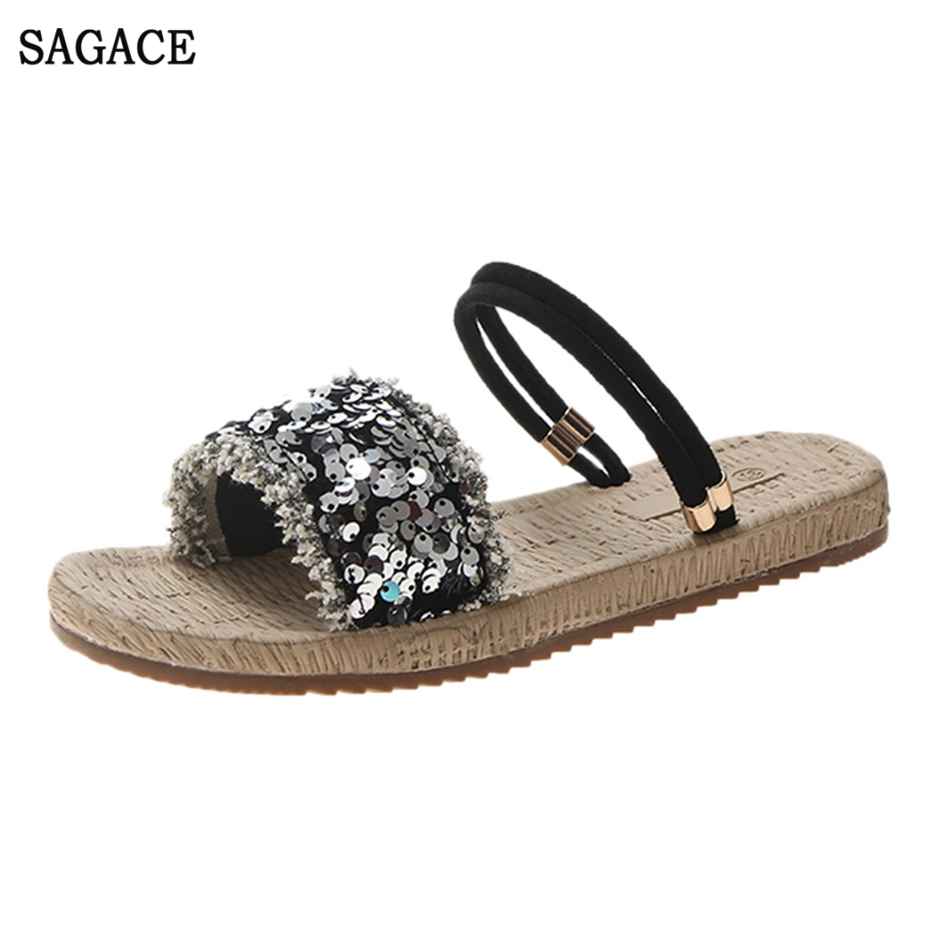 SAGACE Women Flat With Sequins Straps Open Toe Sandals Fashion Hollow Elastic Slippers Sexy High Quality Outsid Ladies ShoesSAGACE Women Flat With Sequins Straps Open Toe Sandals Fashion Hollow Elastic Slippers Sexy High Quality Outsid Ladies Shoes