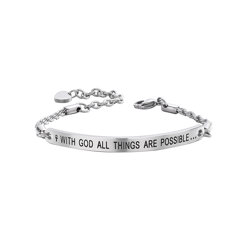 dc8fd65c3 With God All Things Are Possible Engraved Bar Stainless Steel Twisted Chain  Link Bracelets Women Gift Jewelry-in Chain & Link Bracelets from Jewelry ...