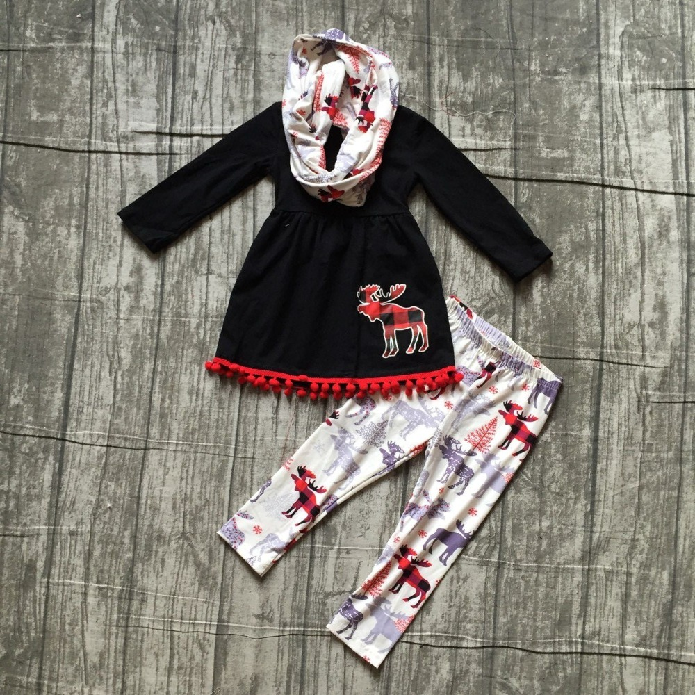 new Fallwinter 3 pieces scarf baby girls kids outfits reindeer black plaid print pant pom pom moose boutique clothing kids wear