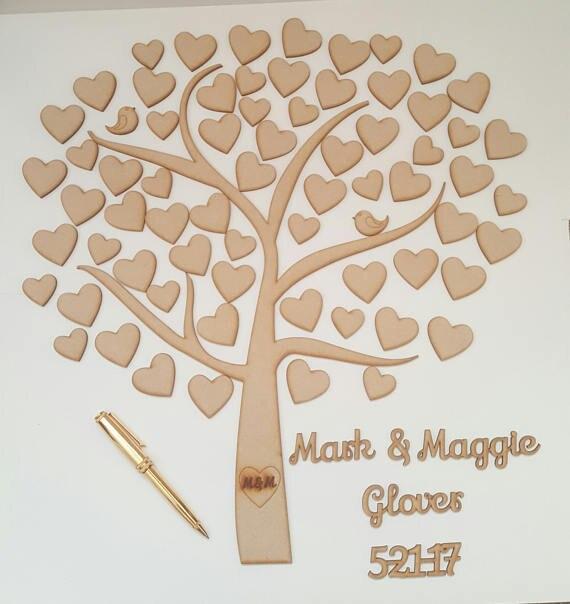 Coeur arbre livre d'or, arbre de cœurs mariage livre d'or, Alternative mariage livre d'or, personnalisé en bois livre d'or faveur