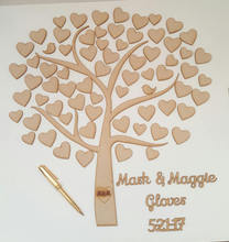 Heart Tree GuestBook, Of Hearts Wedding Guest Book, Alternative Personalised Wooden Guestbook Favor