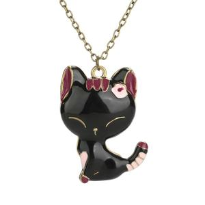 New Lovely Black Cat Crystal Pendant Necklace For Women Girl Best Friend Gift Small Cat Jewelry Sweater Necklace