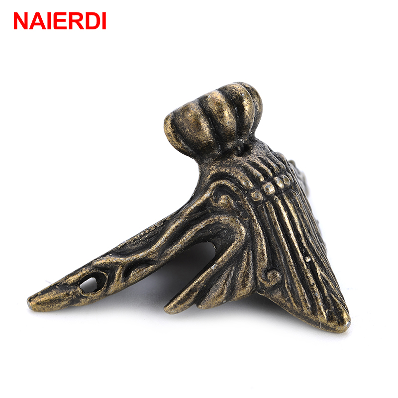 2PCS NAIERDI 40x30mm Antique Wood Box Feet Leg Corner Protector Triangle Rattan Carved Decorative Bracket For Furniture Hardware dongyang woodcarving camphor wood furniture wood carved camphorwood box suitcase box antique calligraphy collection box insect d