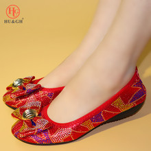 New Arrival African ladies Banquet Dance flat shoes Italian style soft bottom Red color