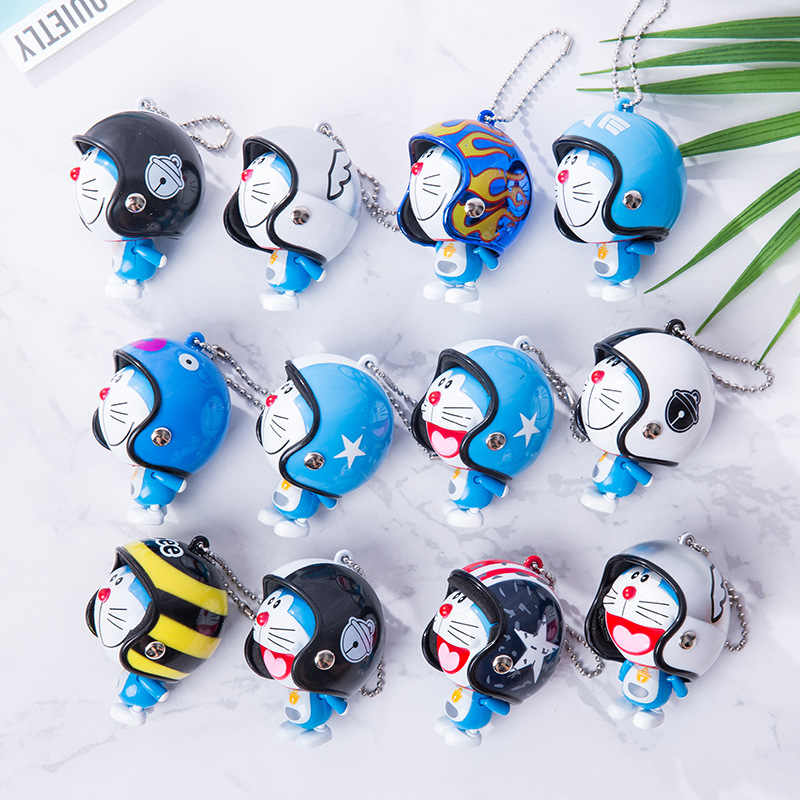 Lovely Animal Pet Cat Keychain Cartoon Japan Doraemon Figure Hand Foot Movable Colorful Helmet Bell Toys For Kids Christmas Gift
