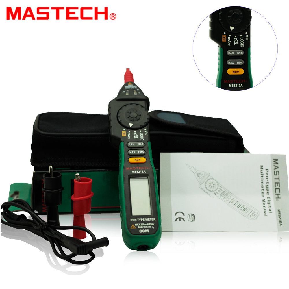 MasTech MS8212A Professional Durable Pen Digital Multimeter Voltage Current Diode Continuity Tester mastech mas830l mini digital multimeter handheld lcd display dc current tester backlight data hold continuity diode hfe test