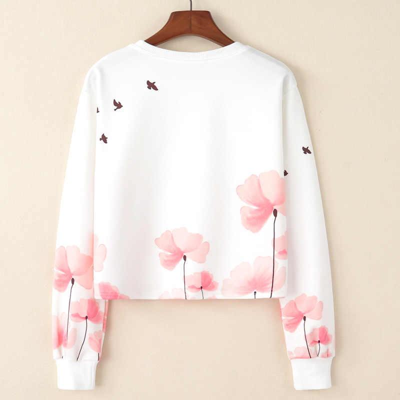 Bts Harajuku-đầu của hoa chim của phụ nữ thời trang ngắn tay áo hoodies in ấn
