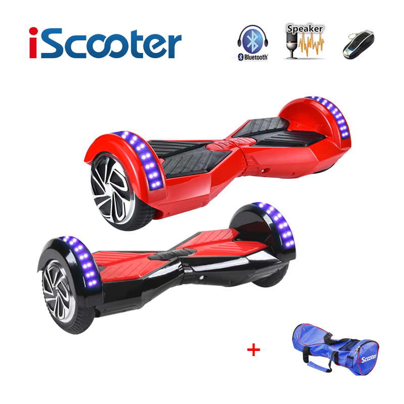 iScooter hoverboard bluetooth 8 inch 2 Two Wheel Self Balance electric Scooters Hover Boards Smart balance Wheel LED Light iscooter hoverboard 6 5 inch bluetooth and remote key two wheel self balance electric scooter skateboard electric hoverboard