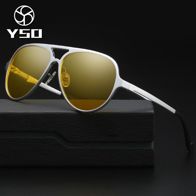 YSO Night Vision Glasses Men Aluminium Magnesium Frame Polarized Night Vision Goggles For Car Driving Fishing Anti Glare 8560