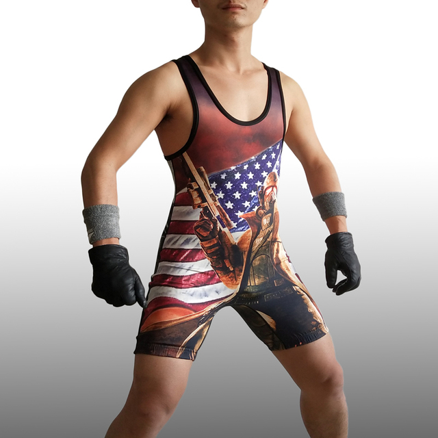 18a7a826d1 Super Hero Biochemical War Soldier Wrestling Singlet Wear Uniform  Weightlifting Outfit