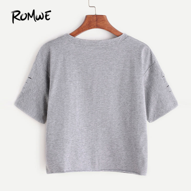 Letter Print Ripped Tee Summer Short Sleeve Crop Women Clothing Round Neck Ripped T-Shirt 1