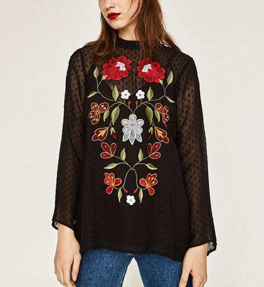 92e69b2f 2017SS Woman BLACK SHIRT Tunic Flowers EMBROIDERED PLUMETIS Blouse Long  flared sleeves Thin Blouse Shirts Tops Strappy interior