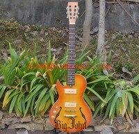 Left Handed Semi Hollow Electric Guitar,Mahogany Body Rosewood Fingerboard Orange Jazz Guitar BJ 117