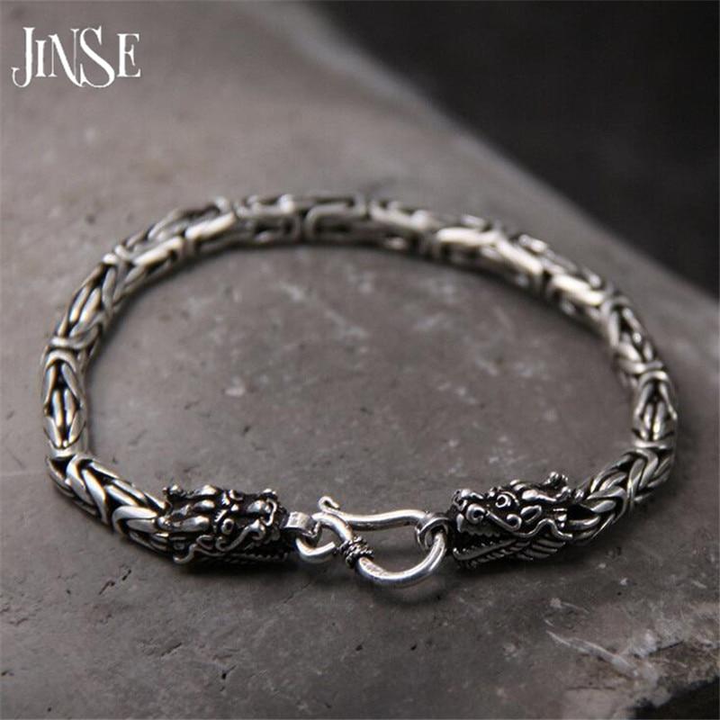 5 MM Dragon Head Bracelet 925 Sterling Argent 19-21 cm Main Lien Chaîne S925 Solide Thai Argent Double Dragon Bracelets Hommes Bijoux