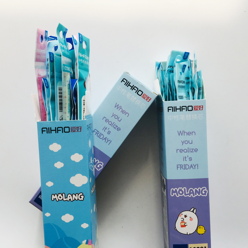5pcs/lot 0.5mm Blue Ink Lovely Cartoon Rabbit Gel Pen Refills Eco-friendly School Office Supply Student Stationery