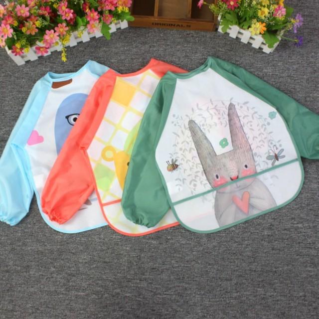 Waterproof EVA Full Sleeve Bibs with Long Sleeve Baby Feeding Bibs Baby Cartoon Apron for Kids Children Cloth Stuff 2-6 Years