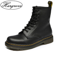 Women Boots Doc Martins 2018 British Martins Vintage Classic Genuine Martin Boots Female Thick Heel Motorcycle Women's Shoes