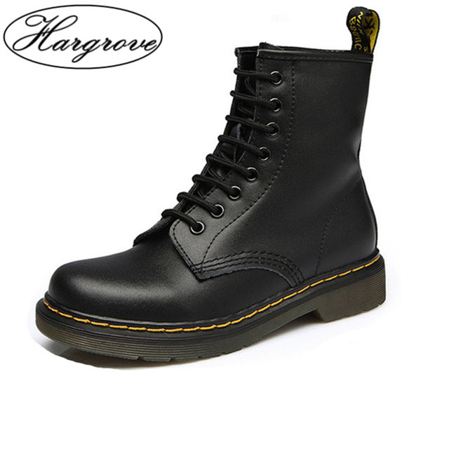 Women Boots Doc Martins 2018 British Martins Vintage Classic Genuine Martin Boots  Female Thick Heel Motorcycle Women s Shoes e83b37d62bb5