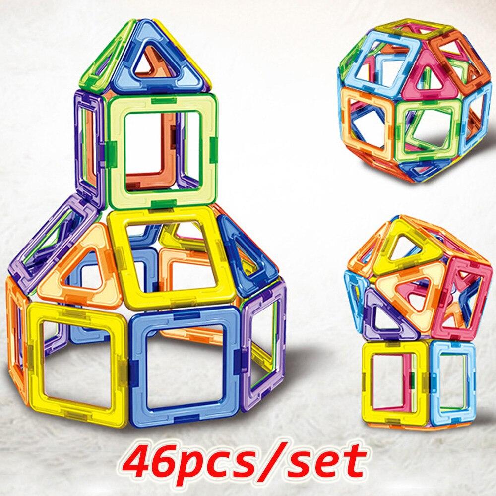 46PCS Big Size Magnetic Designer Magnet Blocks Construction Toys Set  Modeling&Buillding Toy For Children Kids Gifts