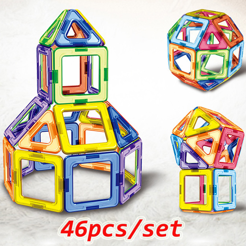 46PCS Big Size Magnetic Designer Magnet Blocks Construction <font><b>Toys</b></font> Set Modeling&Buillding <font><b>Toy</b></font> <font><b>For</b></font> <font><b>Children</b></font> Kids Gifts image