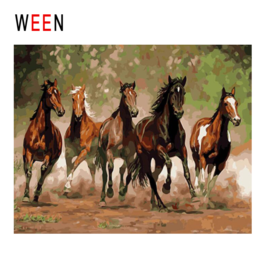 WEEN Horse Running Diy Painting By Numbers Animal Oil Painting On Canvas Forest Cuadros Decoracion Acrylic Wall Art Home Decor in Painting Calligraphy from Home Garden